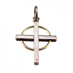 Large Sterling Silver and 18 kt Gold Cross Pendant