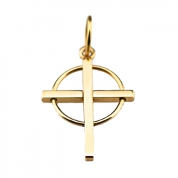 Small 14kt Gold Cross with Circle Pendant