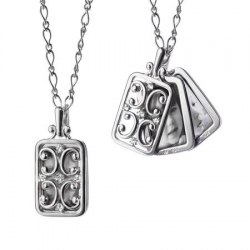 Rectangular Gate Locket Necklace with Sapphires