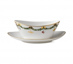 Star Fluted Christmas Gravy Boat with Stand