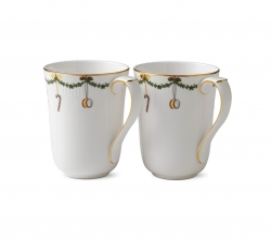 Star Fluted Christmas Mugs, Set of Two