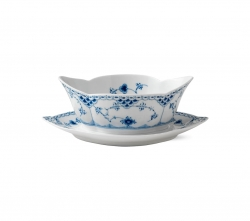 Blue Fluted Half Lace Gravy Boat with Stand