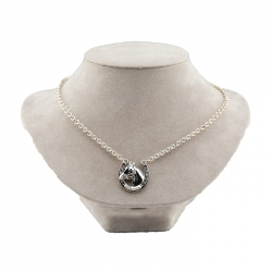 Small Sterling Silver Horseshoe & Horse Head Pendant Necklace