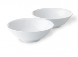 White Fluted Cereal Bowl, Set of Two