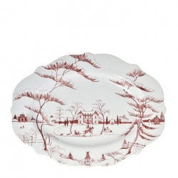 Country Estate Winter Frolic Ruby Large Serving Platter