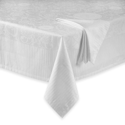 White Appoline Damask Tablecloth