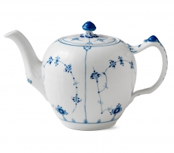 Blue Fluted Plain Tea Pot