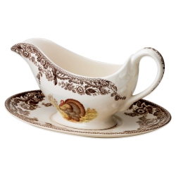 Woodland Turkey Sauce Boat and Stand