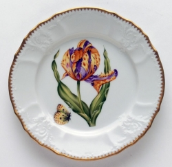 Old Master Tulips Purple and Yellow Tulip Salad Plate