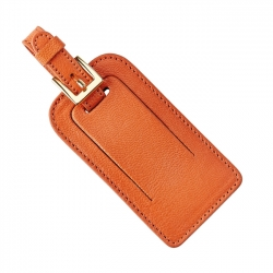 Orange Leather Luggage Tags, Set of 2