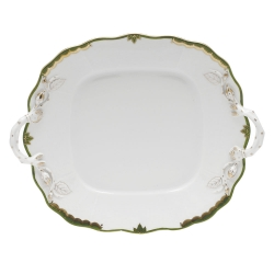 Princess Victoria Dark Green Square Cake Plate with Handles