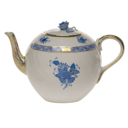 Chinese Bouquet Blue 36 Ounce Tea Pot with Rose