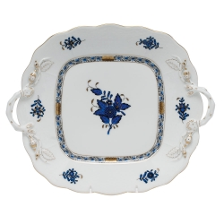Chinese Bouquet Black Sapphire Square Cake Plate with Handles