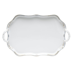 Princess Victoria Light Blue Rectangular Tray with Branch Handles