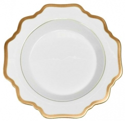 Antique White with Gold Rim Soup