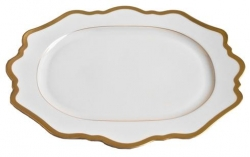 Antique White with Gold Oval Platter