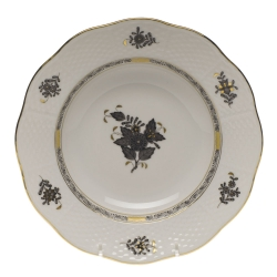 Chinese Bouquet Black Rim Soup Plate