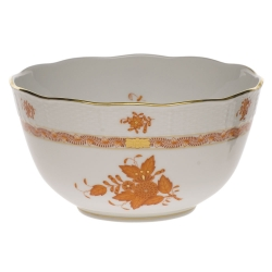Chinese Bouquet Rust Round Bowl