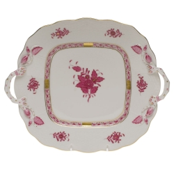 Chinese Bouquet Raspberry Square Cake Plate with Handles