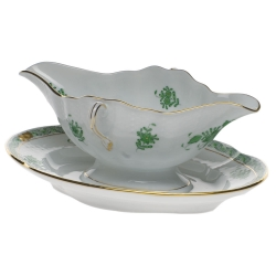 Chinese Bouquet Green Gravy Boat with Fixed Stand