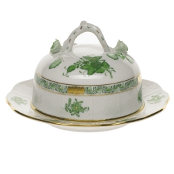 Chinese Bouquet Green Covered Butter Dish