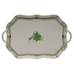 Chinese Bouquet Green Rectangular Tray with Branch Handles