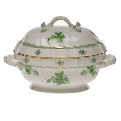 Chinese Bouquet Green 2 Quart Tureen with Branch Handles