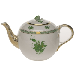 Chinese Bouquet Green 36 Ounce Tea Pot with Rose