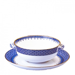 Blue Lace Cream Soup and Saucer