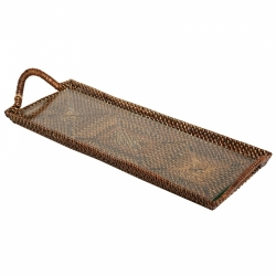 Rattan Cocktail Tray w/glass