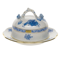 Chinese Bouquet Blue Covered Butter Dish