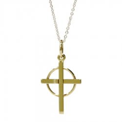 Handmade Gold Cross in Circle