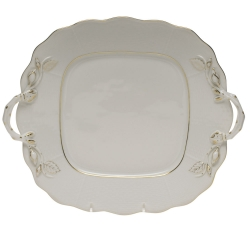 Golden Edge Square Cake Plate with Handles
