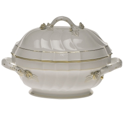 Golden Edge 2 Quart Tureen with Branch Handles