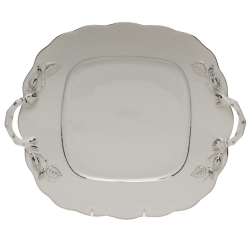 Platinum Edge Square Cake Plate with Handles