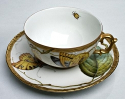 Antique Forest Leaves Tea Cup and Saucer