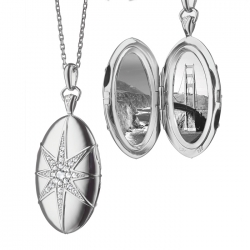 Oval Star-Set Locket with white sapphires