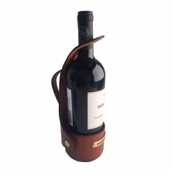 Chestnut Leather Wine Server