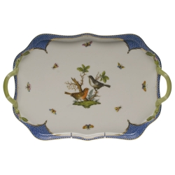 Rothschild Bird Blue Border Rectangular Tray with Branch Handles