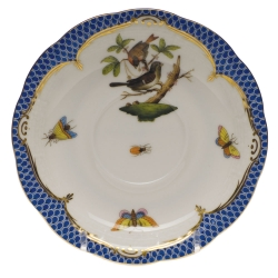 Rothschild Bird Blue Border Tea Cup Saucer - Motif #4