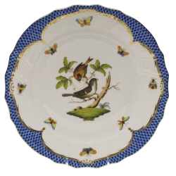 Rothschild Bird Blue Border Dinner Plate, Motif #4