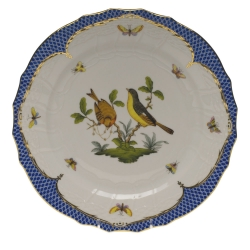 Rothschild Bird Blue Border Service Plate, Motif #7