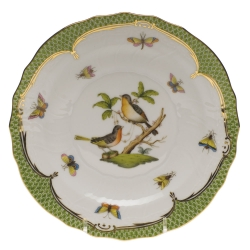 Rothschild Bird Green Border Salad Plate, Motif #8