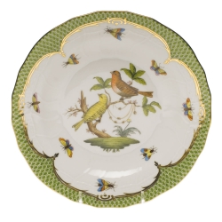 Rothschild Bird Green Border Dessert Plate, Motif #6