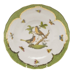 Rothschild Bird Green Border Dessert Plate, Motif #8