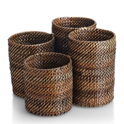 Rattan Four Compartment Flatware Holder