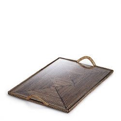 Rattan Rectangular Flat Tray with Glass