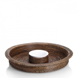 Rattan Round Chip and Dip