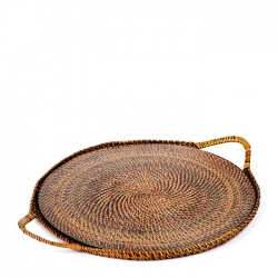 Rattan Round Serving Tray with Glass