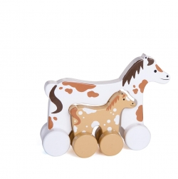 Horse Mommy and Baby Push Toy